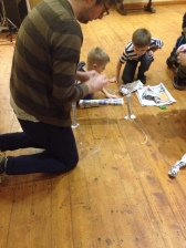 Matt building paper bridges with our Adventurers.