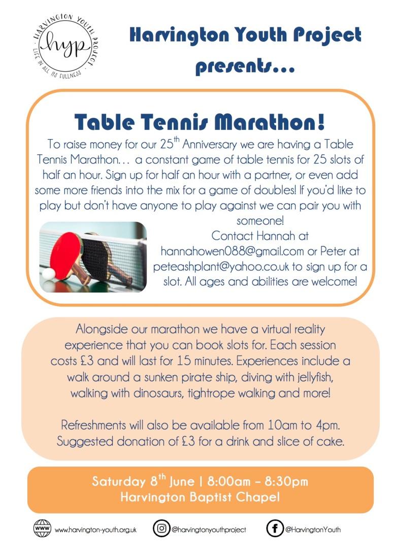 Table Tennis Marathon Flyer